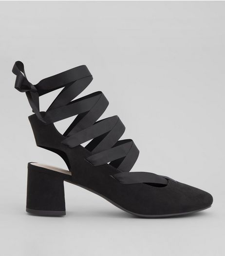 Black Suedette Ankle Tie Mini Block Heels | New Look