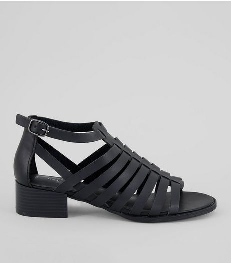 Black Gladiator Block Heel Sandals | New Look