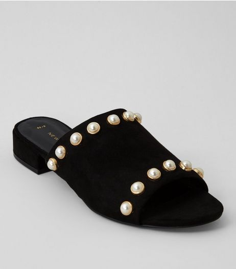 Black Pearl Stud Mules | New Look