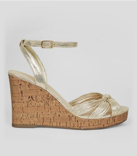 Gold Knot Front Cork Wedge Heels | New Look