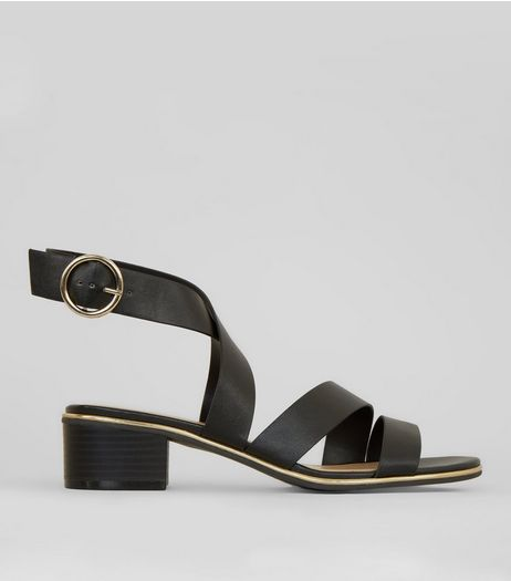 Black Cross Strap Metal Trim Sandals | New Look