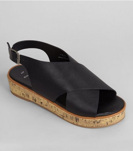 Wide Fit Black Wide Cross Strap Flatforms | New Look