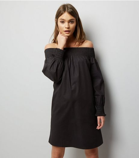 Black Shirred Bardot Neck Long Sleeve Dress | New Look