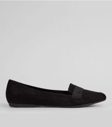 Wide Fit Suedette Pointed Loafers | New Look