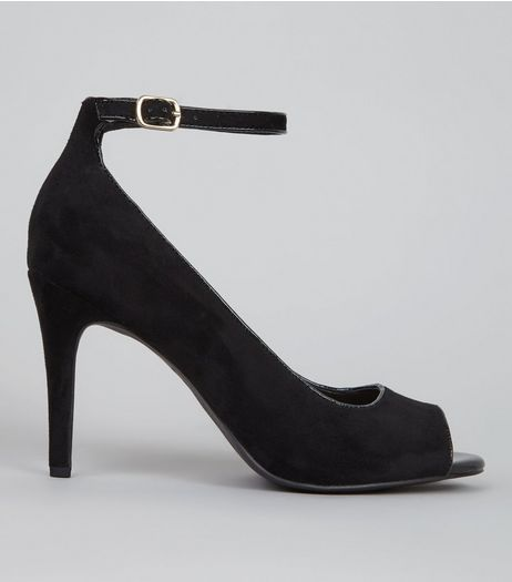 Black Suedette Patent Trim Peep Toe Heels | New Look