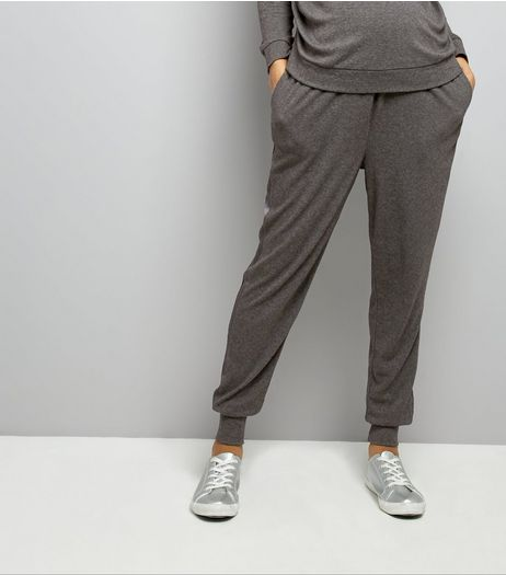 Maternity Grey Brushed Jersey Sateen Trim Joggers | New Look