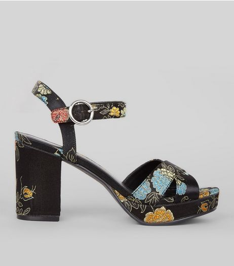 Black Cross Strap Floral Brocade Block Heels | New Look