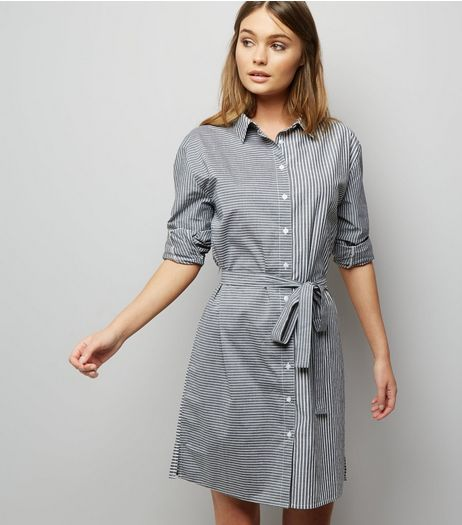 Black Stripe Tie Waist Shirt Dress | New Look