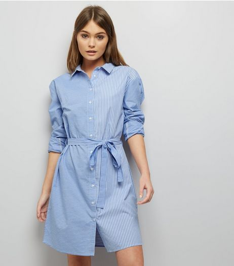 Blue Spliced Stripe Shirt Dress | New Look