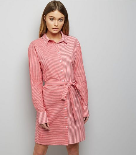 Red Stripe Tie Waist Shirt Dress  | New Look