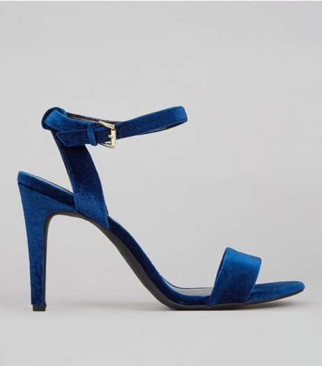 Navy Velvet Ankle Strap Heels | New Look