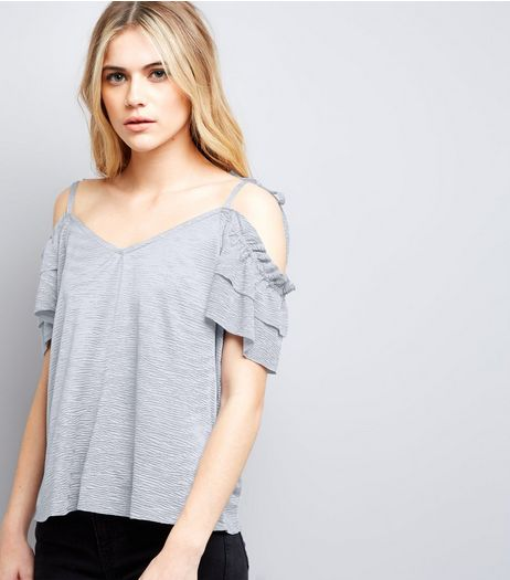 Lilac Frill Trim Cold Shoulder Top  | New Look