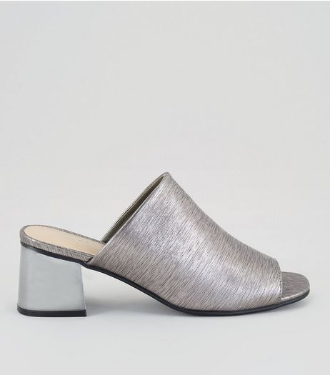 Silver Textured Heeled Mules | New Look