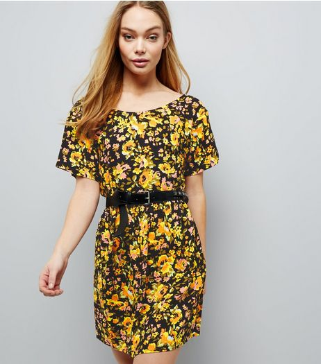 Motel Black Floral Print Dress | New Look