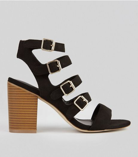 Black Suedette Multi Strap Heeled Sandals | New Look