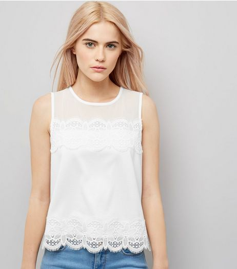 Cream Crochet Lace Trim Sleeveless Top  | New Look