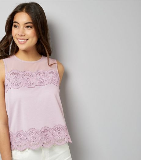 Lilac Crochet Lace Trim Sleeveless Top  | New Look