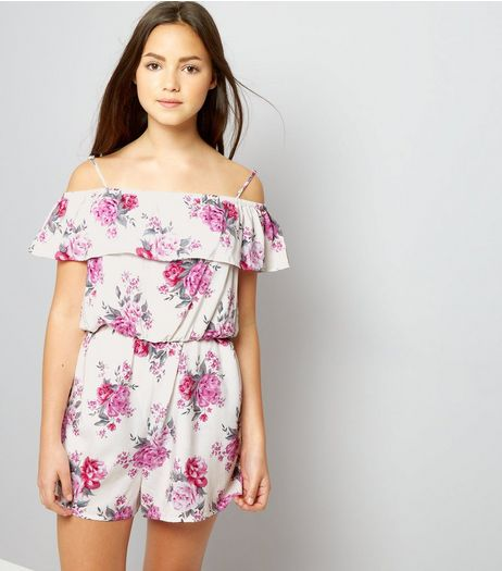 Teens White Floral Frill Trim Bardot Neck Playsuit | New Look