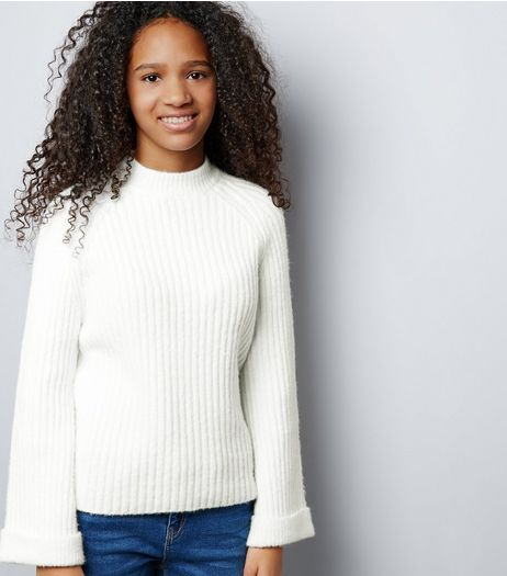 Teens Cream Ribbed Funnel Neck Flared Sleeve Jumper | New Look