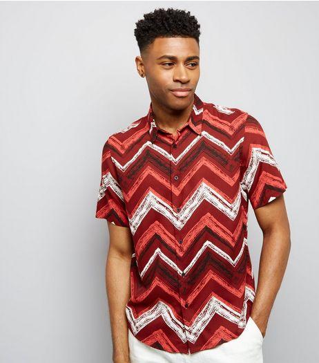 Red Chevron Print Short Sleeve Shirt | New Look