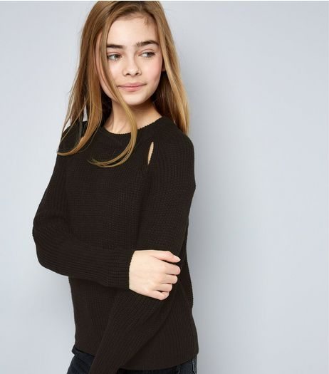 Teens Black Cut Out Front Jumper | New Look