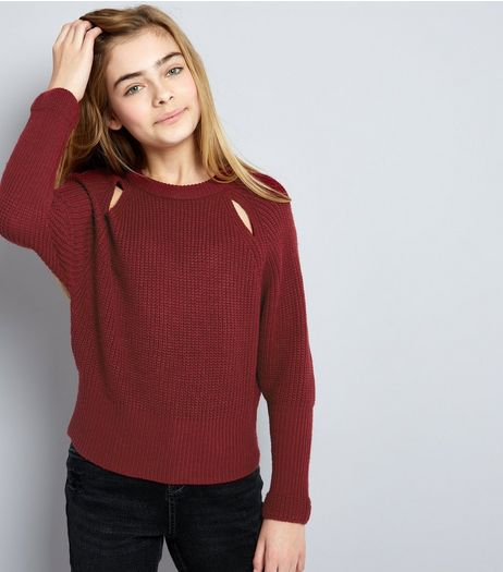 Teens Burgundy Cut Out Front Jumper | New Look