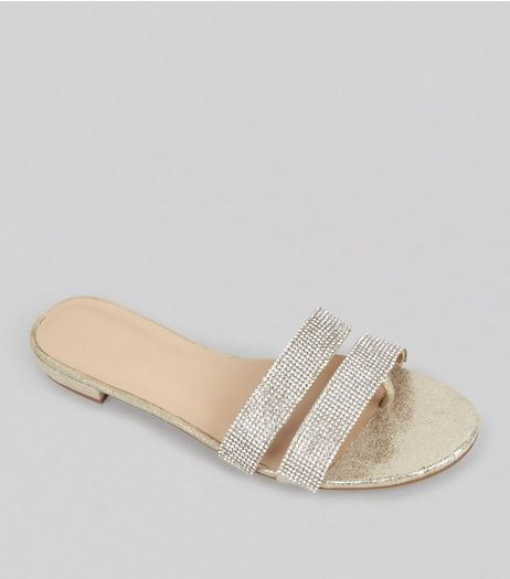 Gold Double Crystal Strap Mules | New Look