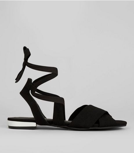 Black Sateen Metal Trim Ankle Tie Sandals | New Look