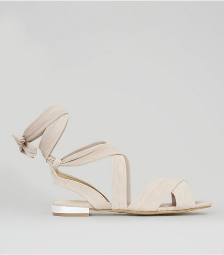 Nude Satin Metal Trim Ankle Tie Sandals | New Look