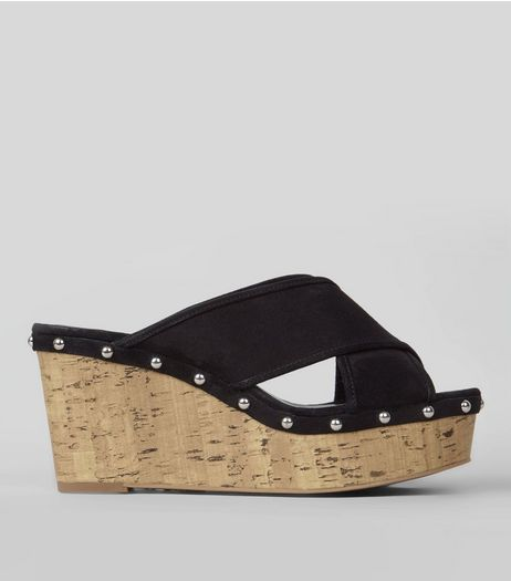 Black Suedette Stud Trim Cork Wedge Heeled Mules | New Look
