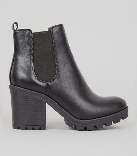 Black Chunky Heel Chelsea Boots | New Look