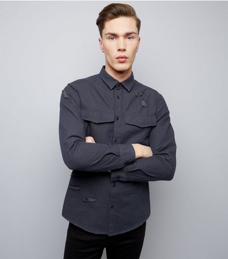 Navy Double Pocket Ripped Long Sleeve Shirt | New Look