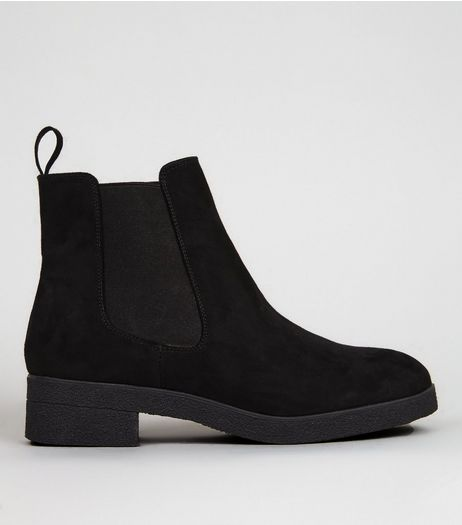 Black Suedette Crepe Sole Chelsea Boots | New Look