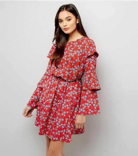 Red Ditsy Floral Print Layered Sleeve Dress | New Look