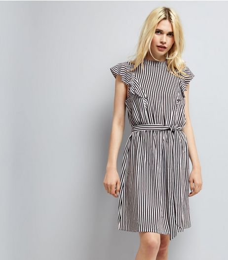 Black Stripe Frill Trim Tie Waist Dress  | New Look