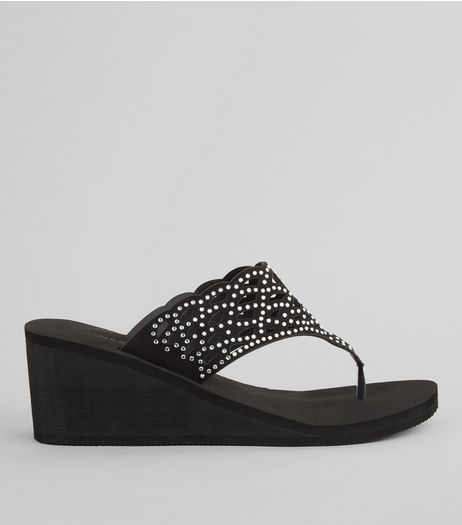 Black Diamante Strap Wedged Flip Flops | New Look