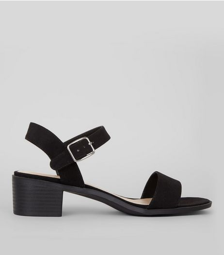 Wide Fit Black Ankle Strap Heeled Sandals | New Look