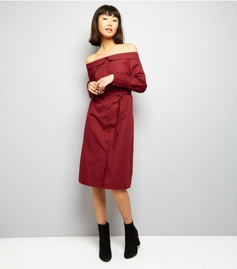 Burgundy Bardot Shirt Dress | New Look