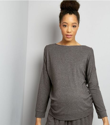 Maternity Grey Brushed Jersey Cold Shoulder Sweater | New Look