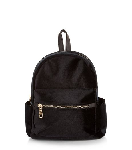 Black Velvet Mini Backpack | New Look