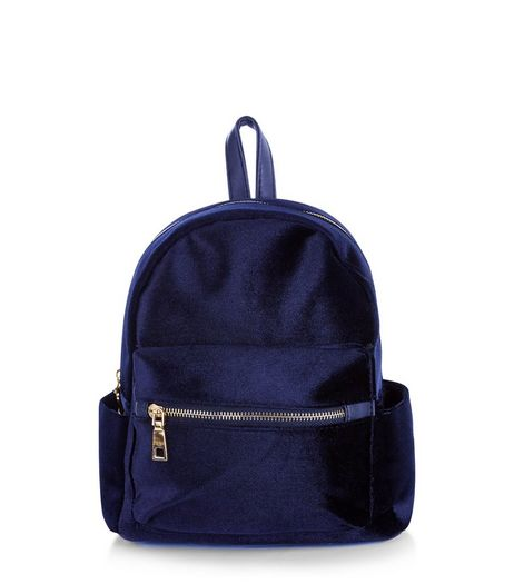 Navy Velvet Mini Backpack | New Look