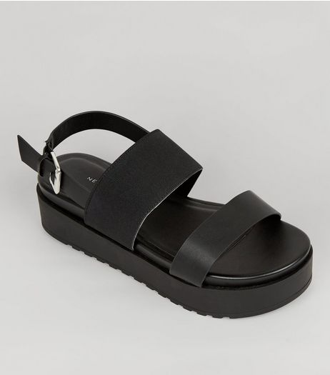 Wide Fit Black Flatform Sandals | New Look