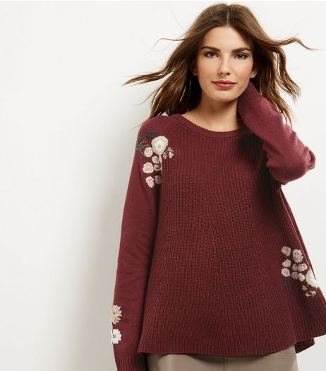 Apricot Burgundy Floral Embroidered Swing Jumper | New Look
