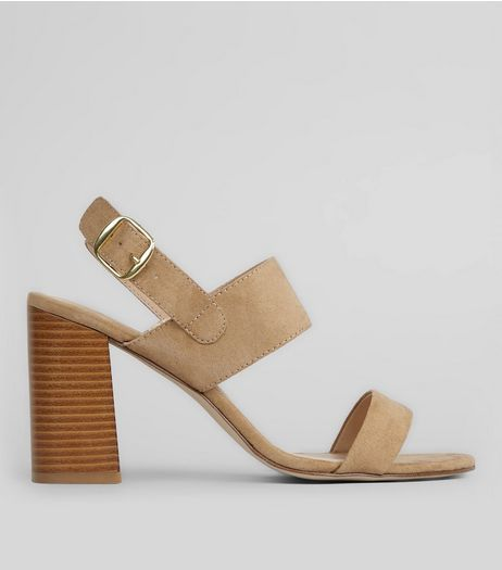 Wide Fit Mink Suedette Flared Heeled Sandals | New Look