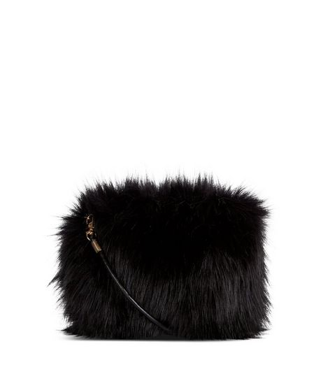 Black Faux Fur Cross Body Bag | New Look