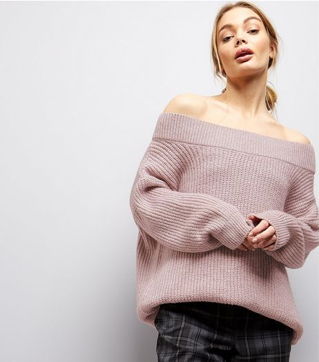 Light Purple Bardot Neck Jumper  | New Look
