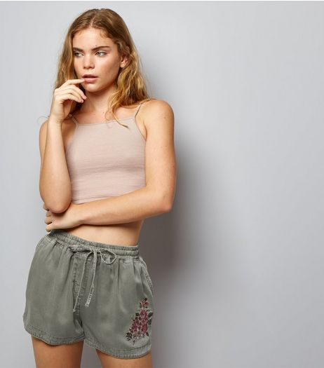 Olive Green Floral Embroidered Running Shorts  | New Look