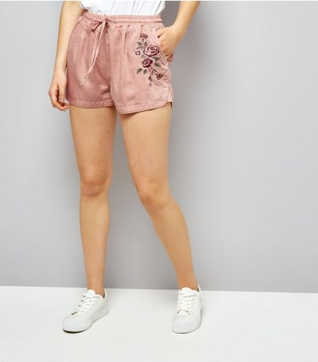Mid Pink Floral Embroidered Running Shorts  | New Look