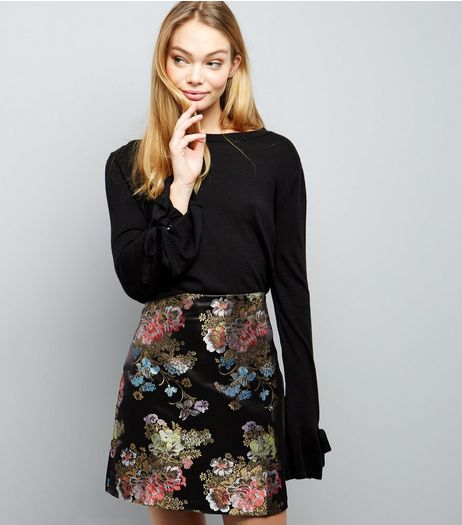 Black Floral Print Jacquard Skirt  | New Look