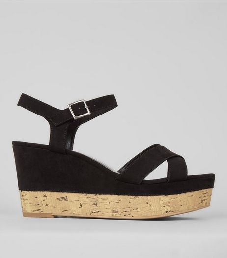 Black Suedette Cork Sole Cross Strap Wedges | New Look